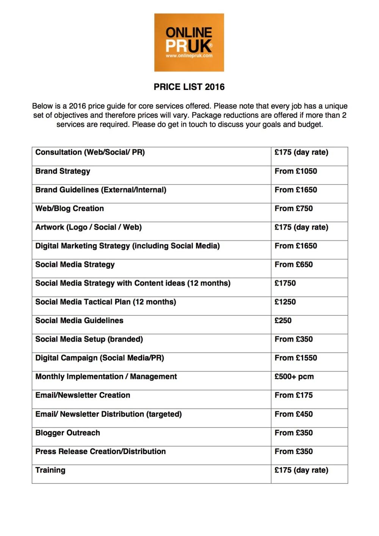 Online PR UK Price list 2016