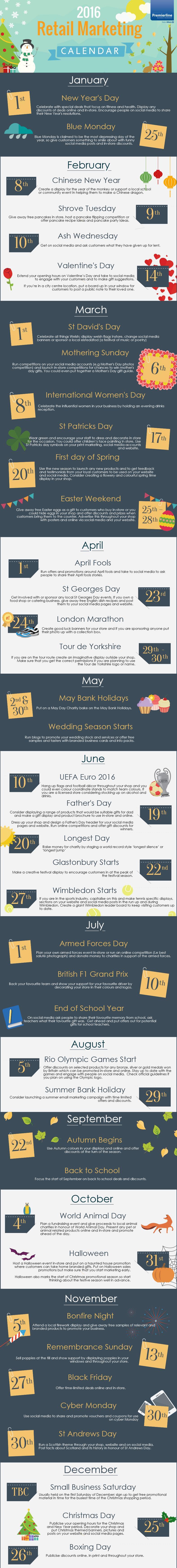 2016 retail calendar