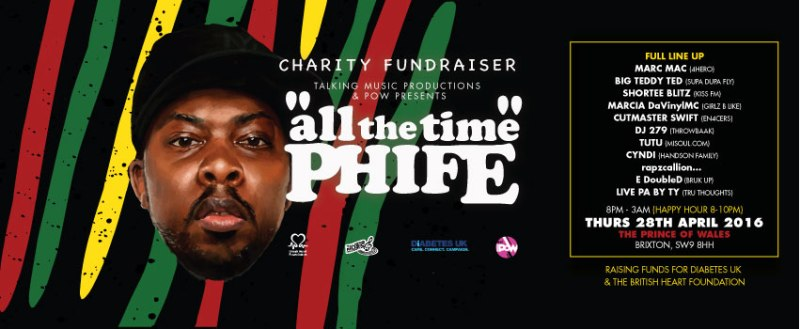 EVENTS RELEASE: 'All The Time Phife' Charity Fundraiser @pow_london28.04.16
